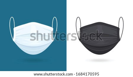 Black and White Medical or Surgical Face Masks. Virus Protection. Breathing Respirator Mask. Healthcare Concept. Vector Illustration