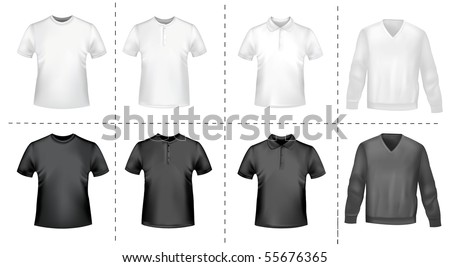 Black and white men polo shirts and t-shirts. Photo-realistic vector illustration