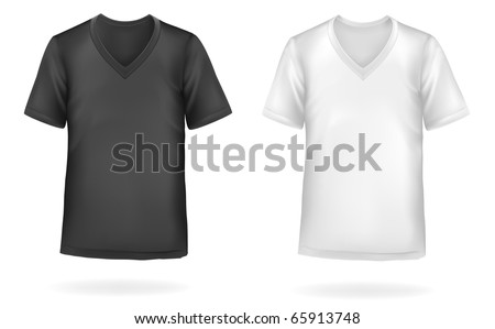Black and white men t-shirts. Photo-realistic vector illustration - Shutterstock ID 65913748
