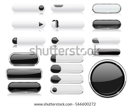 Black and white menu buttons. Interface elements with metal frame. Vector 3d illustration isolated on white background