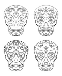 Black and white Mexican  sugar skull coloring page line art set
