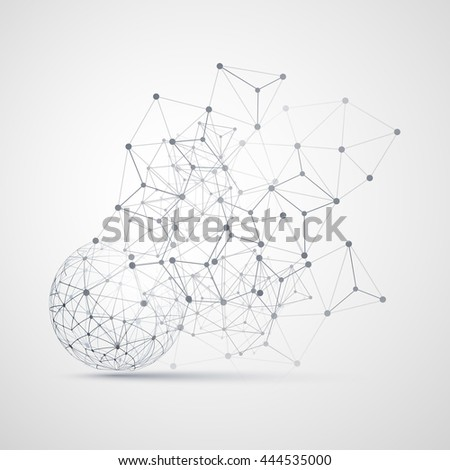 Black and White Minimal Cloud Computing, Networks Structure, Telecommunications Concept Design, Modern Style Globe and Network Connections, Transparent Geometric Wireframe - Vector Illustration
