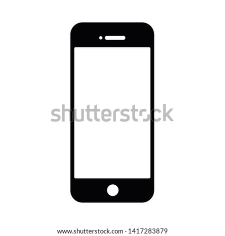 Black and white mobile phone icon Split with the background