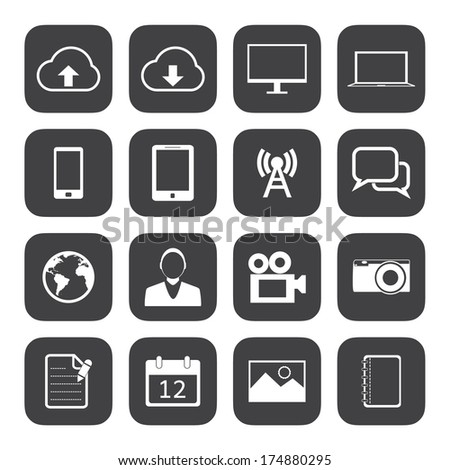 Black and White mobile phone icons.
