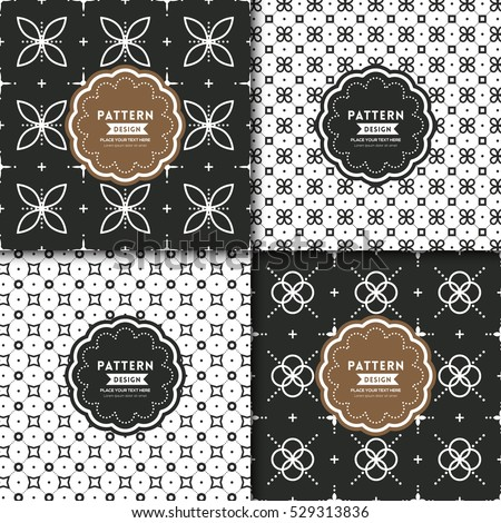 black and white modern geometric motif seamless pattern background