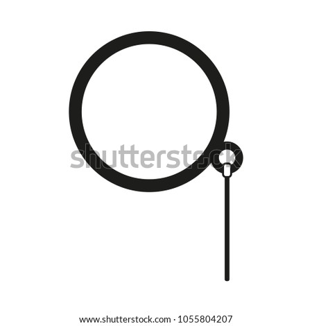 Black and white monocle silhouette. Hipster vector illustration for gift card certificate sticker, badge, sign, stamp, logo, label, icon, poster, patch, banner invitation