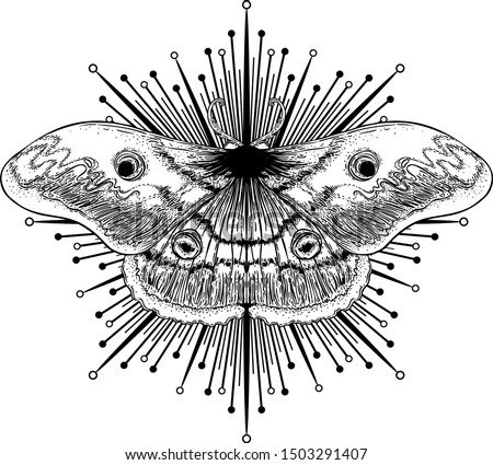 Black and white moth over sacred geometry sign, isolated vector illustration. Tattoo flash. Mystical symbols and insects. Alchemy, occultism, spirituality, coloring book. Hand-drawn vintage.