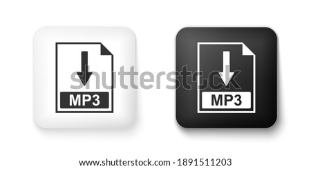 Black and white MP3 file document icon. Download MP3 button icon isolated on white background. Square button. Vector. Stock photo ©