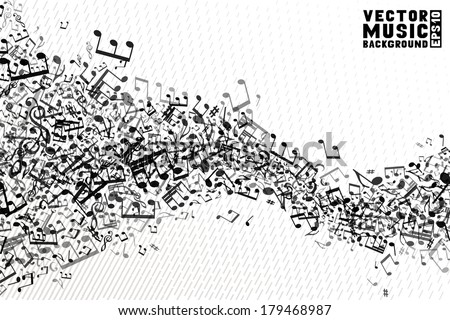 Black and white music background. Set of  music elements on white background. Music abstract wave of notes and treble clefs. EPS 10.