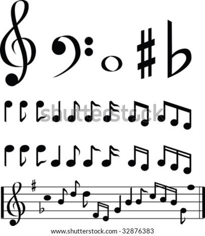 black and white music note selection icon set - stock vector
