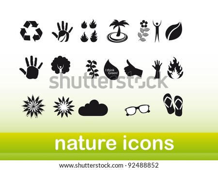 black and white nature icons over green background. vector