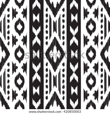 Black and white Navajo seamless pattern. American ethnic textile. Hipster striped print. Aztec abstract background. Design may be used for wallpaper, fabric, wrapper.
