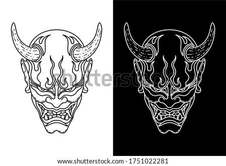 Black and White Oni Mask Design ストックフォト ©