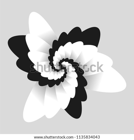 Black and white optical  flower illusion. Black and white fractal background. Surrealism. Shine flower background - Fractal Art. For printing and web.