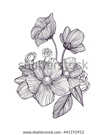 Black and white ornamental fantastic flowers, magic composition. Monochrome Pattern: Floral Texture, Decorative elements for Adult Coloring Book page. Hand drawn vector illustration. #441192952