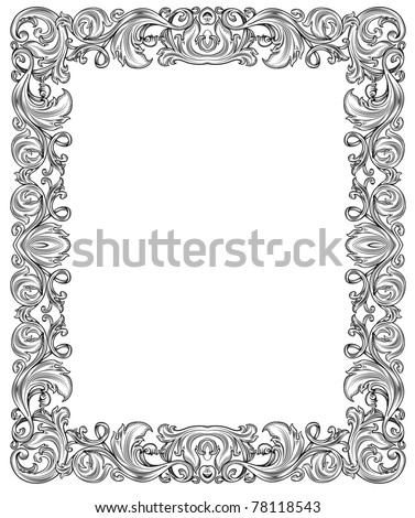 black and white ornate frame, isolated