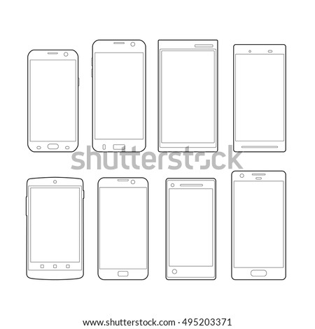 Black and White Outline Modern drawing smartphone. Elegant thin line style design icons. Set of Mobile Cell Phone Outlines as Vectors.