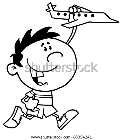 Black And White Outline Of A Boy Running And Playing With A Toy Airplane