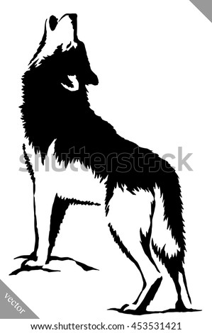 black and white paint draw wolf