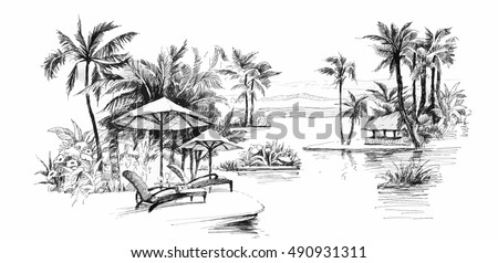black and white painting palm