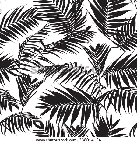 Vector Images Illustrations And Cliparts Black And White Palm Leaves Pattern Seamless Trendy Tropical Fabric Design Hqvectors Com Tropical palm leaf border vector. black and white palm leaves pattern