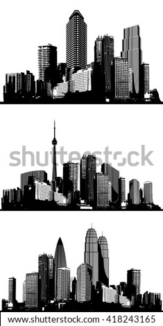 black and white panorama cities