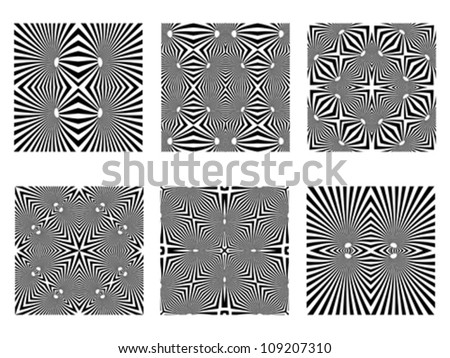 black and white patterns, op art seamless textures; vector art illustration