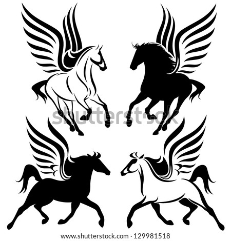 black and white pegasus design - winged horses vector set