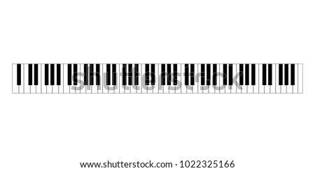 black and white piano keys in a flat style