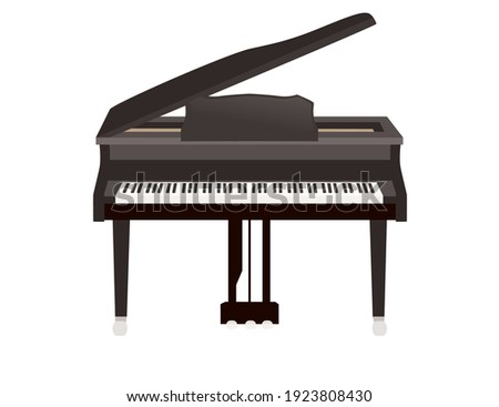 Black and white piano keys with abstract flowing flat vector illustration Photo stock ©