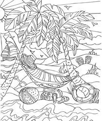 Black and white picture for coloring with the theme of summer, beach, palm trees, sea, ship, slippers, bag, spade, ball, life buoy, sun, birds, clouds, grass, hammock