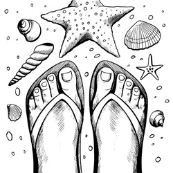 Black and white picture with sun and sea shore. Bare feet. Beach landscape. Pattern for adult Coloring book page. Hand-drawn, doodle, zentangle.