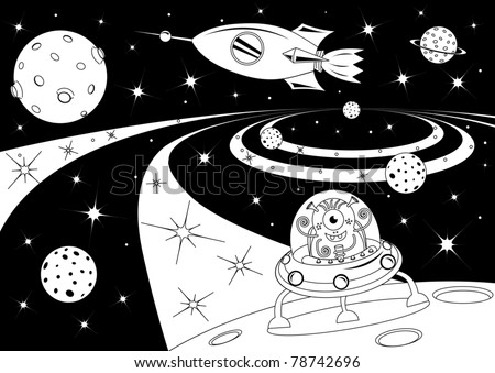 Black and white picture with the spaceships in the universe