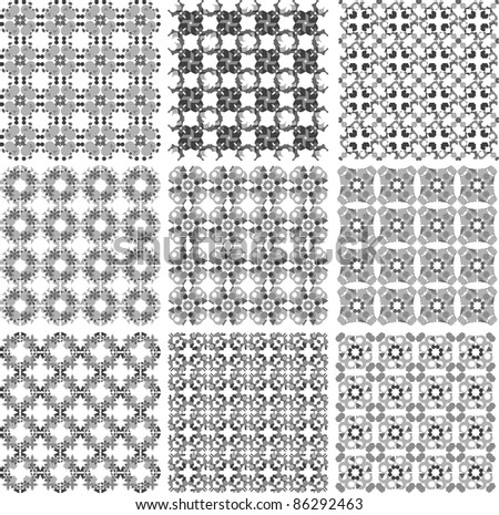 Black and white plaid patterns set vector design