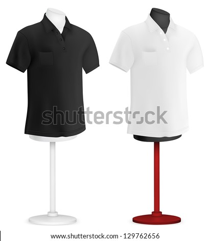 Black and white plain polo shirt on mannequin torso template.