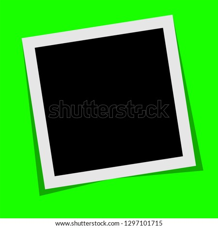 Black and white  polaroid photo frame with shadows isolated on green background. Vector illustration