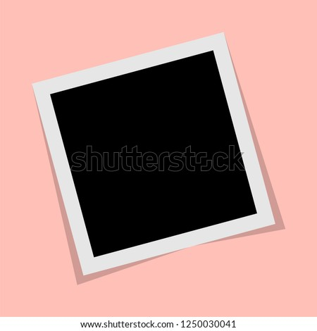 Black and white Polaroid photo frame with shadows isolated on pink background. Vector illustration