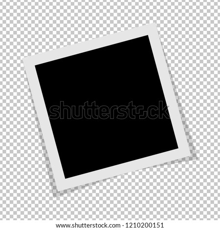 Black and white Polaroid photo frame with shadows isolated on transparent background. image. Vector illustration