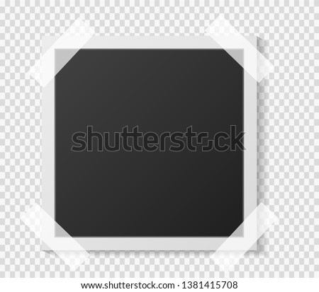 Black and white Polaroid photo frame with shadows isolated on transparent  background. Vector illustration