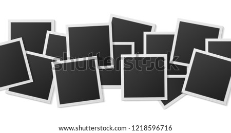 Black and white Polaroid photo frames isolated on white. Polaroid vintage style. Vector illustration