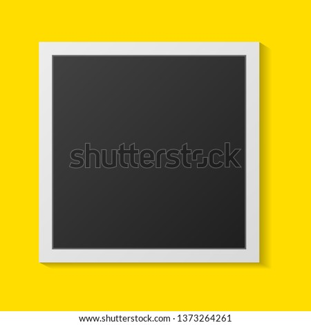 Black and white Polaroid photo frames with shadows isolated on yellow background. Vector illustration