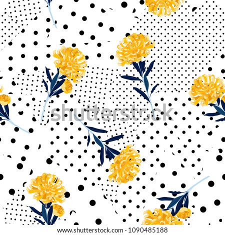 Black and white Polka dots pattern mix in different size of circle on top with bright summer oriental blooming yellow  flowers seamless pattern vector for fashion fabric and all prints