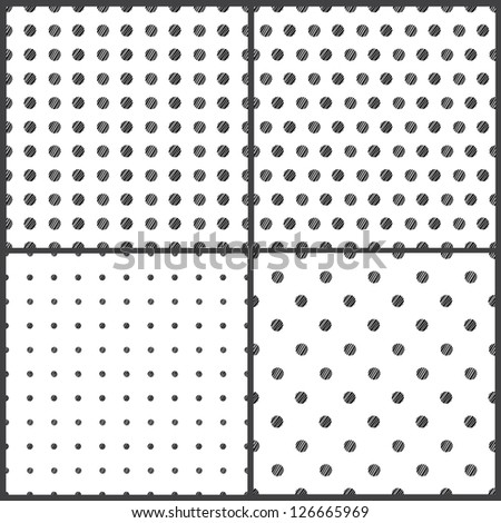 Black and White polka dots seamless pattern on white background