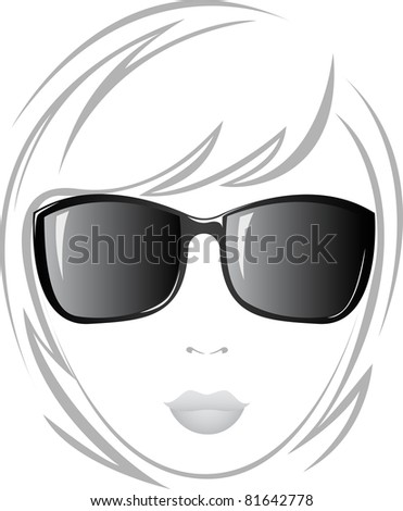 black and white portrait of a beautiful girl in sunglasses