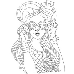 Black and white portrait of a young mermaid girl looking through binoculars. Adult coloring book.Vector