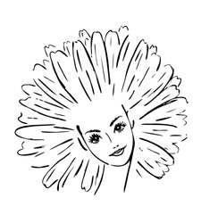 Black and white portrait of beautiful girl with aster daisy petal hairstyle. Woman with flower on head. Image concept for flower horoscope. Hand drawn, art line vector, isolated on white background.