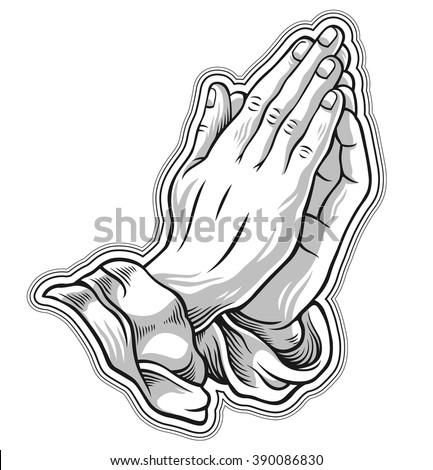 black and white prayer hand