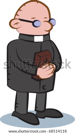black and white priest with bible book - stock vector