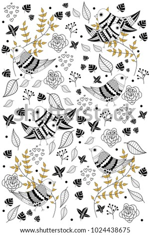 black and white print with