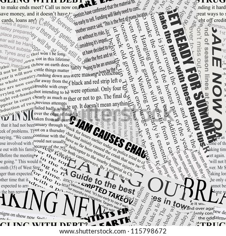 Black and white repeating torn newspaper vector background. Continuous pattern left, right, up and down